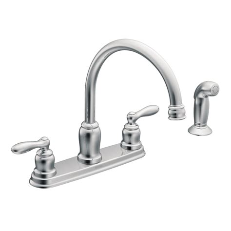 chrome kitchen faucets shop moen caldwell chrome 2 handle deck mount high arc