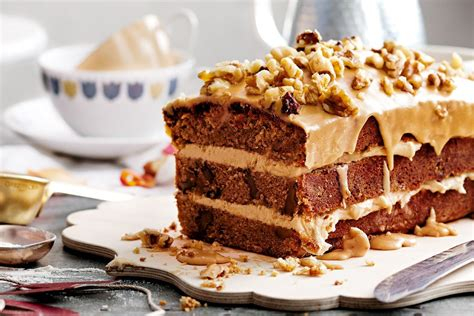 This cake mix coffee cake is light and fluffy, yet moist and delicious. Coffee and walnut cake - Recipes - delicious.com.au