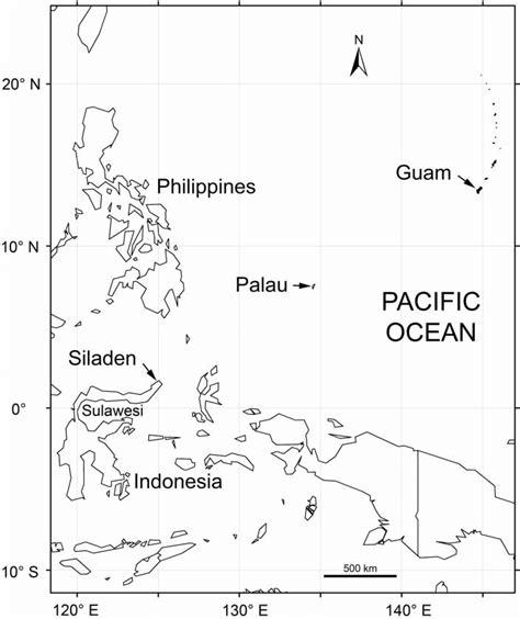 map   sampling localities  siladen indonesia guam