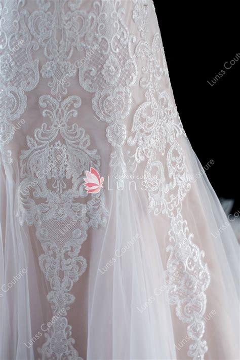 blush straps  neck sequined lace tulle court train