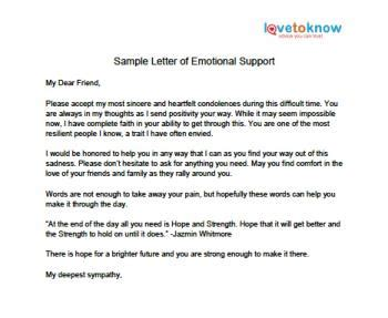 how to write a support letter letter of emotional support lovetoknow