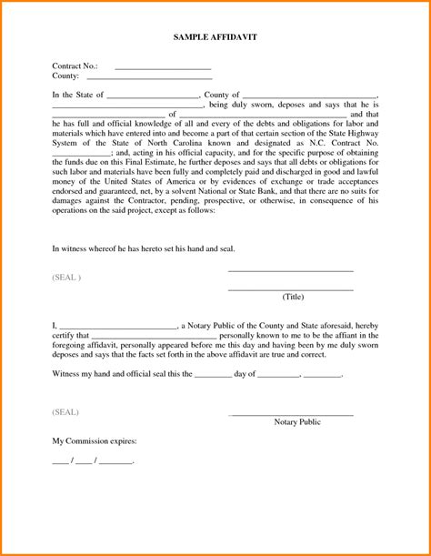 Affidavit Template Impressive Sle Of Affidavit Form Template With Some