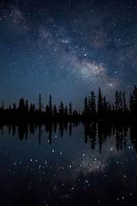 lake trees space galaxy stars dark blue universe milky way ...