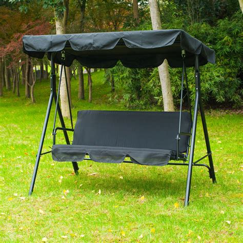 outsunny 3 person canopy porch swing black pop up deals