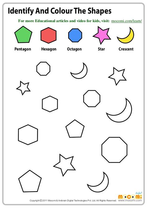 identify  colour  shapes maths worksheets  kids