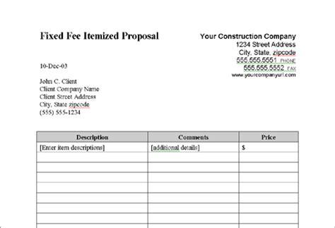 itemized proposal template job bid sheet pertaminico