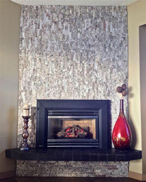 split face veneer tile fireplace modern living room