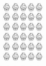 Coloring Cupcakes Kitty Hello Cup Cakes Pages Adult Printable Adults Cupcake Zentangle Food Print Cake Colouring Justcolor Template sketch template