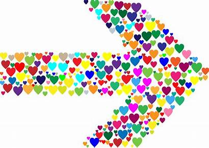 Arrow Colorful Colourful Clipart Hearts Transparent Svg