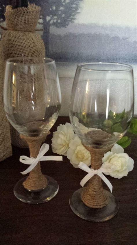 set  wine glasses decorated  twine perfect