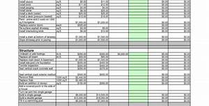 Construction Cost Breakdown Excel Spreadsheet Renovation