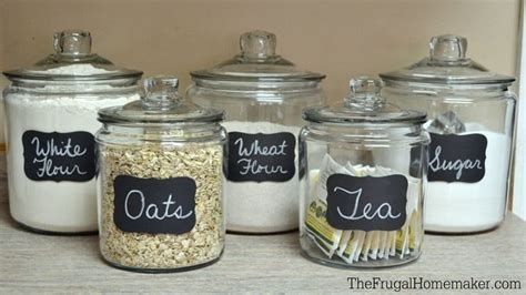What To Put In Kitchen Canisters by Chalkboard Labels On Glass Jars Glass Food Storage Ideas