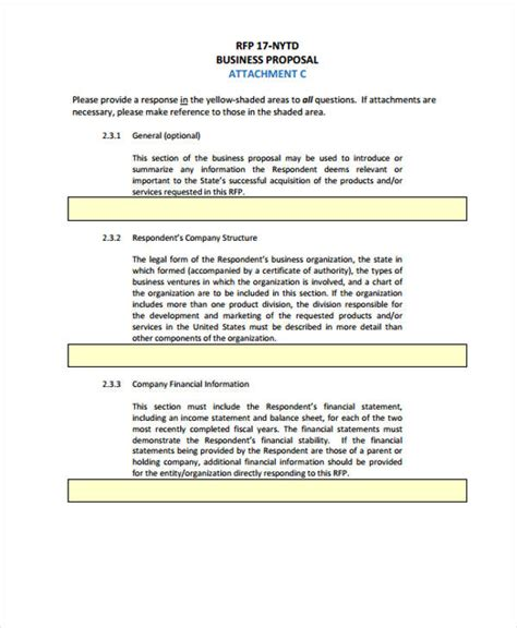proposal contract templates   word  format