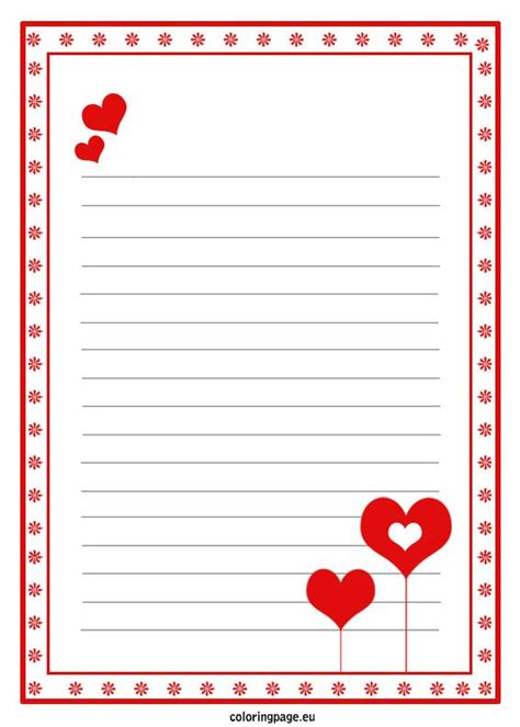 love letter paper template valentines day valentines