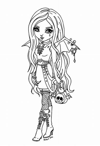 Gothic Coloring Pages Woman Template Jadedragonne Bat