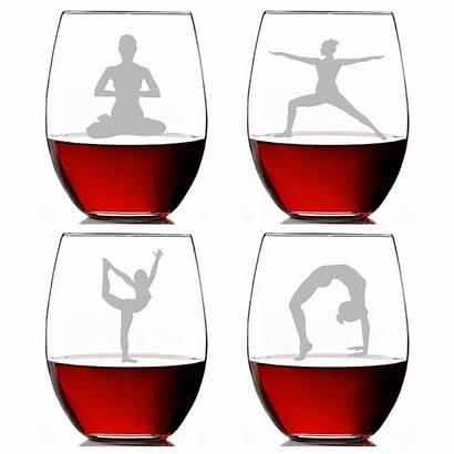 Wine Glass Stemless Clipart Clip Yoga Ounce