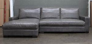 LAF Braxton Leather Sofa Chaise Sectional In Glove Mont