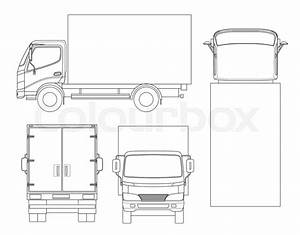 Cargo Truck Transportation On Outline