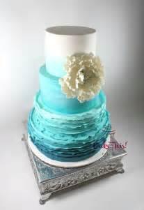 turquoise wedding cakes turquoise ombre frilled wedding cake cake by cake this cakesdecor