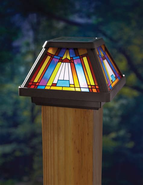 stained glass solar lights outdoor stained glass solar powered power led post cap