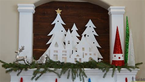 diy christmas village silhouette mantel decor  tool belt