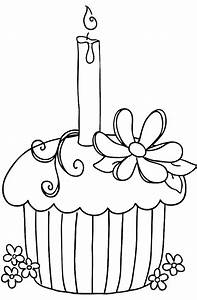 Birthday Cupcake Coloring Page - AZ Coloring Pages