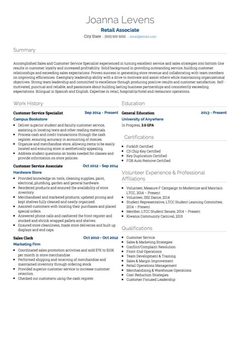 retail cv exles and template