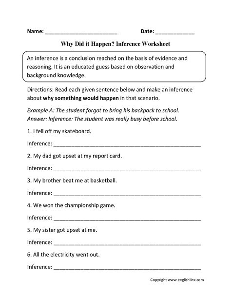 Inference Worksheets  Why Did It Happen? Inference Worksheets