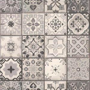 Papier Peint Carreau Ciment : papier peint intiss carreau ciment gris leroy merlin d co pinterest papier peint ~ Melissatoandfro.com Idées de Décoration