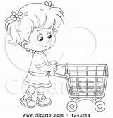 Shopping Cart Clipart Pushing Illustration Boy Royalty Bannykh Alex Vector Clip Caucasian Cartoon Line Clipartof sketch template