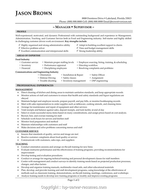 food service manager resume objective food and beverage manager cv exle