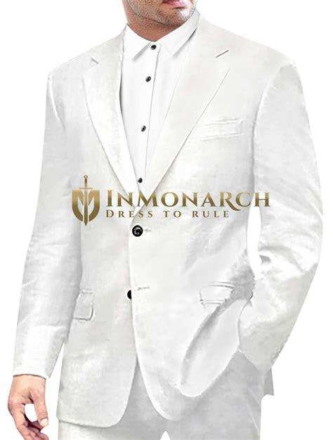 mens white  pc linen suit classic style  button