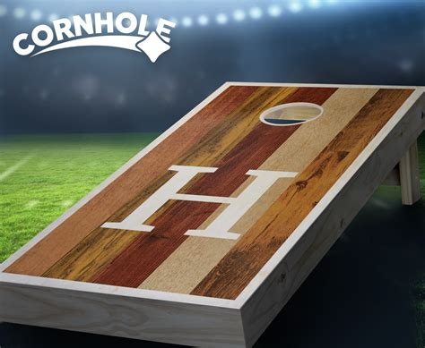 multicolored monogram light stained cornhole boards product details cornholecom