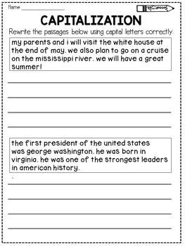 capitalization worksheets rewrite  passage distance