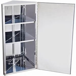 Colonne D Angle Salle De Bain : homcom armoire miroir rangement toilette salle de bain meuble mural d 39 angle acier inoxydable ~ Teatrodelosmanantiales.com Idées de Décoration