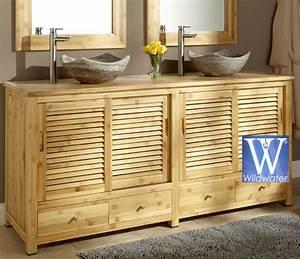 Meuble Bambou Salle De Bain : meuble de salle de bain en teck massif collection wildwater ~ Teatrodelosmanantiales.com Idées de Décoration