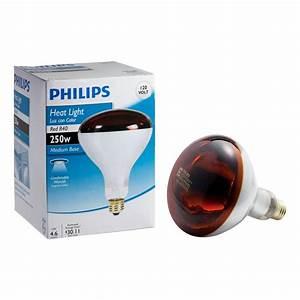 Philips 250 watt r40 incandescent red heat lamp light bulb for Heating bulbs bathrooms