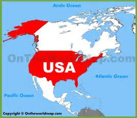 Map of North America On the USA