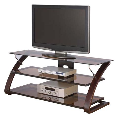 3 shelf tv stand z line designs keira 3 shelf mocha glass tv stand for 32
