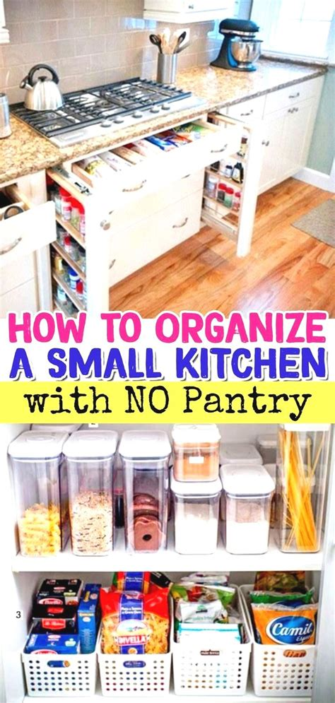 No pantry ideas for small kitchens, apartment kitchen and other tiny kitchens that need no pantry solutions. Pantry Storage Solutions for Small Kitchens Without a Pantry • No Pantry? No Problem! Let's t ...