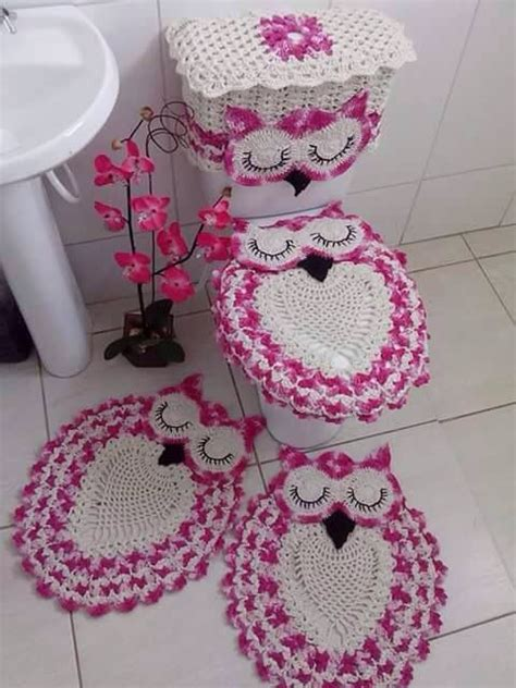 crochet owl bath sets still looking for a pattern for this beautiful owl