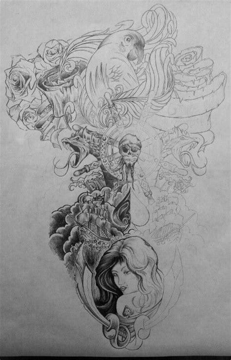 It's a Pirates life back Tattoo layout | Back tattoo, Tattoos