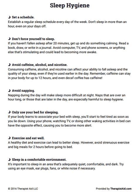 sleep hygiene handout worksheet therapist aid