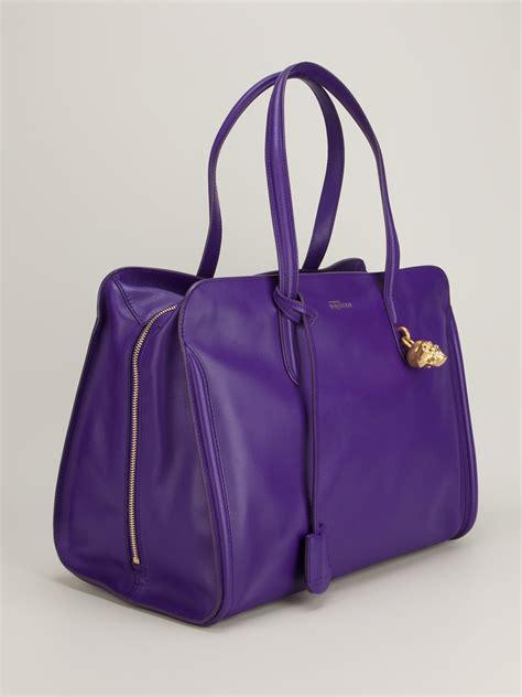 lyst alexander mcqueen tote bag  purple