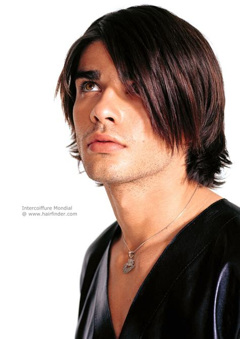 trendy haircut  men  layers  long bangs