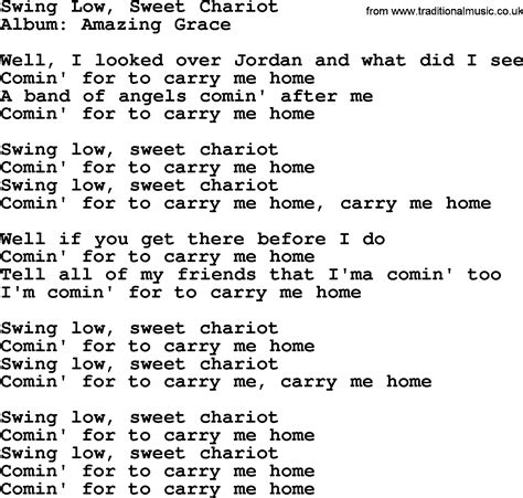swing low sweet chariot lyrics swing low sweet chariot by george jones counrty song lyrics