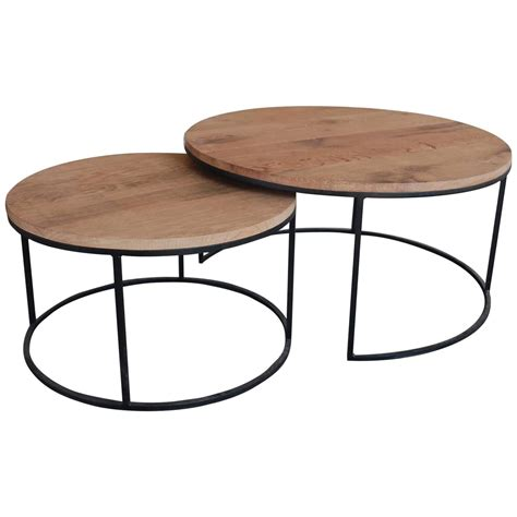 Round woven wicker outdoor coffee table set: Pair of Contemporary round coffeetables with aged oak top. in 2020 | Coffee table wood, Round ...