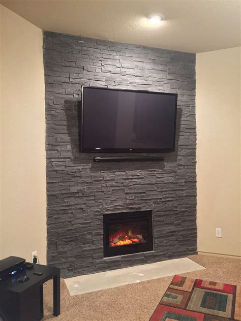 fireplace transformed  cultured stone