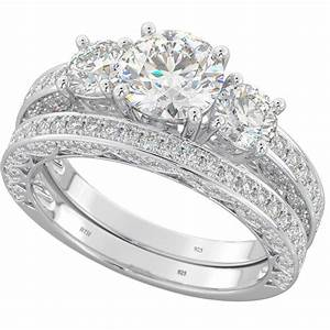 Ladies three stone cubic zirconia rings set for Sterling silver cubic zirconia wedding rings