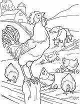 Coloring Rooster Crowing Farm Pages Fence Animals Animal Barnyard Printable Sky Popular Adults sketch template